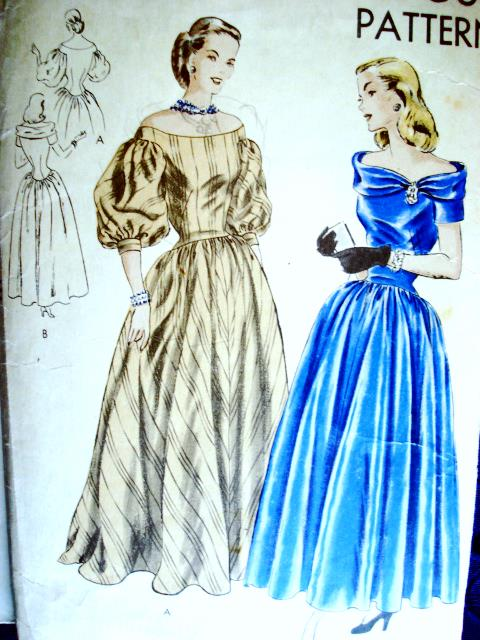 1940s Beautiful Evening Gown Pattern Portrait Collar Off