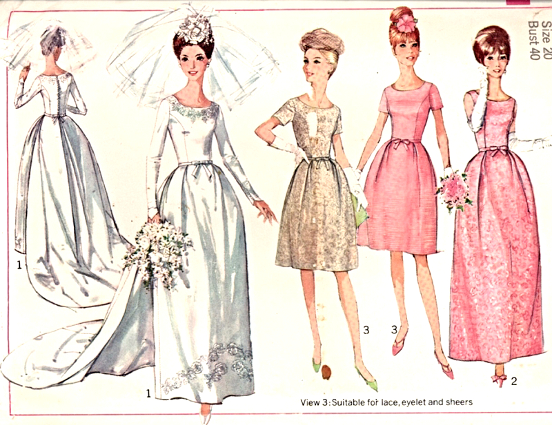 60s Bridal Gown Wedding Bridesmaid Dress Pattern Simplicity 6353 ...