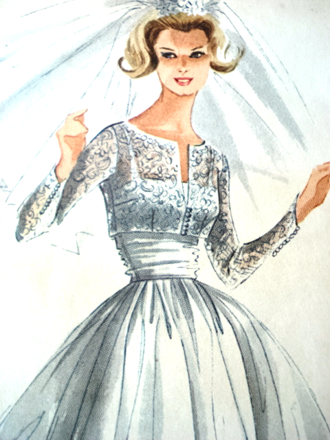 1960s Dreamy Wedding Gown Bridal Bridesmaid Dress Pattern