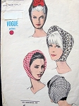 1960s MOD SALLY VICTOR HATS PATTERN VOGUE 6605 Bias Cut Shaped Hood Hats Vintage Sewing Pattern