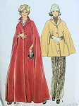 1970s Cape Coat Pattern Full Length Evening Maxi or Short Day Versions Stylish Mod Fashions Simplicity 6680 UNCUT FACTORY FOLDED Size Large