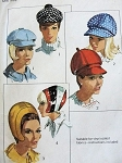 1960s MOD HATS PATTERN JOCKEY HATS, CAPS ,SPACE AGE HELMET STYLE SIMPLICITY 6702 Vintage Sewing Pattern