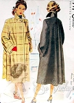1940s BEAUTIFUL Swing Back Coat Pattern McCALL 6982 Flared Back Wide Cuffs Striking Wing Collar Bust 36 Vintage Sewing Pattern