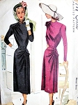 1940s  DRESS PATTERN CLASSY SHOULDER ,HIP DRAPING McCALL PATTERNS 7016