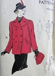 1930s DOUBLE BREASTED COAT PATTERN 2 LENGTHS, PLAIN or PANEL PLEATED BACK, WIDE REVERS CLASSY DESIGN VOGUE 7563 Bust 34