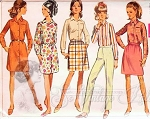 1960s Shirt Dress, Skirt, Shirt Blouse and Straight Pants Pattern Great 60s Wardrobe Builder Simplicity 7731 Vintage Sewing Pattern UNCUT Bust  32.5