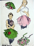 Vintage 1950s Sewing Pattern One Yard Reversible Hostess Apron With Rose Applique One Size Sew Easy Advance 7751