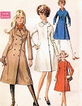 Mod 60s Double Breasted Coat Pattern Side Button Version, Mini, Regular or Midi Lengths Classic Styles Simplicity 7859 Vintage Sewing Pattern UNCUT Bust 31.5