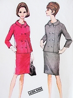 1960s STYLISH Laird-Knox Suit pattern McCALLS 7981 Fitted Double Breasted Jacket Slim Skirt So Jackie Kennedy Bust 36 Vintage Sewing Pattern UNCUT