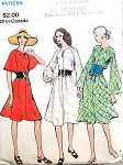 1970s Loose Fitting Semi Tent Dress Pattern Key Hole Neckline, 3 Sleeve Style Versions Vogue 7982 Vintage Sewing Pattern Bust 34