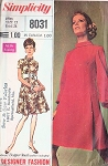 Mod 60s Simplicity 8031 Vintage Sewing Pattern Lovely Designer Fashion Panel Pleated Balloon Sleeve Cocktail Party Dress, Roll Collar UNCUT