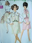 70s DRESS PATTERN DRESS , JACKET, VEST  SIMPLICITY 8040