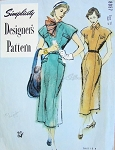1940s Slim Dress Pattern Fitted Tailored Bodice, Extended Shoulders, Slit Neckline Simplicity Designers 8057 Bust 34