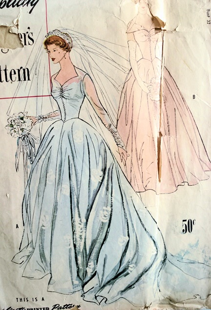 1950s Beautiful Wedding Gown Bridal Dress Pattern