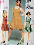 1960s HOW TO SEW Dress or Jumper Pattern SIMPLICITY 8367 Easy Cute Mod Flippy Flared Skirt Dress or Jumper Bust 38 Vintage Sewing Pattern