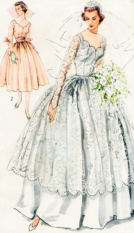 1940s Beautiful Bridal and Bridesmaid Dress Wedding Gown Pattern ...