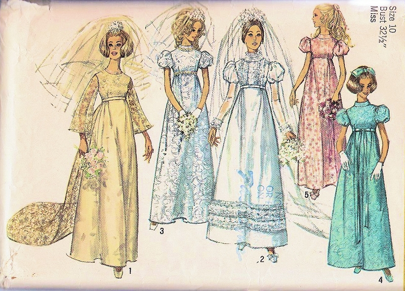 1960s beautiful wedding gown bridal dress pattern for Empire waist wedding dress patterns