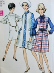 1970s Mod Vest Coat and Dress Simplicity 8705 Pattern Princess Seams Bust 36 Vintage Sewing Pattern UNCUT