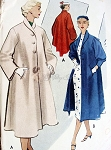 1950s Flare Back Coat Pattern McCalls Vintage Sewing Pattern 8975 Two Sleeve Styles Bust 32