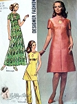 1970s Key Hole Neckline Dress, Tunic and Pants Pattern Day or Evening Mini or Tunic , Regular or Maxi  Dress Lengths Simplicity 9014 designer Fashion Vintage Sewing Pattern Bust 34