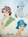1950s Flirty Flattering Hat Pattern VOGUE 9097 Draped Brim Hat By SALLY VICTOR  Vintage Sewing Pattern