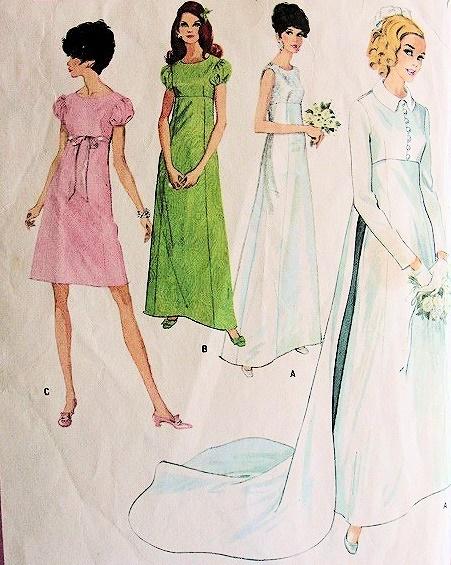 1960s empire waist wedding gown bridal dress long train for Empire waist wedding dress patterns
