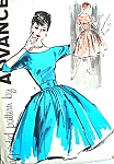 1960 BEAUTIFUL Full Skirt Party Cocktail Dress Pattern ADVANCE 9441  Very Audrey Hepburn Style Bust 36 Vintage Sewing Pattern