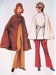1970s  Cape Coats Pattern Unlined Cape or Lined Short Cape ELEGANT Styles Simplicity 9669 Vintage Sewing Pattern