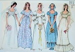 1970s Romantic Boho Wedding Gown Bridal Dress Pattern Simplicity 9825 Lovely Bridesmaid Dress and Scarf Bohemian Style 5 Styles Vintage Sewing Pattern UNCUT