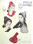 1940s  Hat and Bag Easy To Make Pattern Film Noir Style Peaked Hat, Lovely Purse Perfect Day or Evening Vogue 9837 Vintage Sewing Pattern