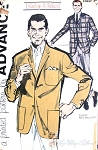 1960s CLASSY Mens Blazer Jacket Sewing Pattern Mad Men Office Fashion, Advance 9954 Chest 42 UNCUT