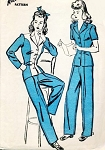 1940s Pant Suit Pattern ADVANCE 3319 WW II War Time Katharine Hepburn High Waist Pants Fitted Longer Jacket Bust 34 Vintage Sewing Pattern