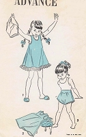 CUTE 1940s Little Girls Slips and Panties Lingerie Pattern ADVANCE 4917 Size 8 Vintage Childrens Sewing Pattern