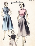 1950s ROCKABILLY High Waist Flared Skirt and Blouse Pattern SEW EASY Advance  Bust 35 Vintage Sewing Pattern