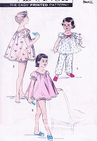 1950s LOVELY Girls Baby Doll PJs Pajamas Pattern ADVANCE 8225 Sweet Styles Nightie Shortie Set Size Large Childrens Vintage Sewing Pattern
