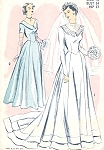 1940s Beautiful  Wedding Gown Bridal Dress Pattern Advance 5341 Regular or With Train 2 Neckline Styles Figure Flattering Late Forties Bust 34 Vintage Sewing Pattern