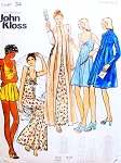 1970s JOHN KLOSS Fab Nightgowns and  Robes Lingerie or Evening Wear Pattern BUTTERICK 3405 Baby Doll to Maxi Length Perfect as Evening Dress and Coat or Lounging Bust 34 Vintage Sewing Pattern  FACTORY FOLDED