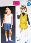 CUTE Little Girls Drop Waist Jumper Dress Pattern BUTTERICK 3417 Toddler Size 2 Vintage Sewing Pattern UNCUT