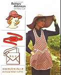 70s Vintage Betsey Johnson Alley Cat Apron Hats Bag and Belt Pattern Butterick 3550 Vintage Sewing Pattern Sz Petite