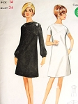 1960s MOD Dress Pattern BUTTERICK 4483 Draped Cowl Neckline Seam Interest A Line Dress  Day or After 5 Bust 34 Vintage Sewing Pattern