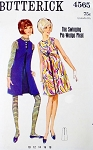 MOD 60s TWIGGY London Style Jumper or Dress Pattern BUTTERICK 4565 Swinging Pie Wedge Pleat Tent Dress Bust 34 Vintage Sewing Pattern UNCUT