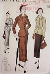 1940s Stylish Suit Pattern Butterick 5012 Slim Skirt Beautiful Detailed Fitted Jacket Nip In Waist Bust 32 Vintage Sewing Pattern FACTORY FOLDED