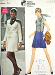 Mod 60s JEAN MUIR 3 Pc Suit and Scarf Pattern Butterick 5586 Fab Design Bust 34 Vintage Sewing Pattern FACTORY FOLDED