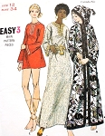 70s Beach Cover Up or Dress Pattern BUTTERICK 5814 Three Styles Micro Mini or Maxi Evening Length or Hooded Caftan Robe Size 8 Vintage sewing Pattern UNCUT