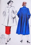 1950s SWING Back Coat or Jacket Pattern BUTTERICK 6285 Lovely Flare Back Three quarter Length or Full Length Bust 40 Vintage Sewing Pattern FACTORY FOLDED