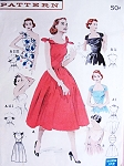 1950s RARE Change About Neckline Dress Pattern BUTTERICK 6439 Tie It Five Ways Dress Tied Shoulders,Halter,One Shoulder, Strapless  Daytime or Evening Infinite Dress  Bust 32 Quick n Easy Vintage Sewing Pattern