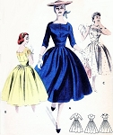 1950s Rockabilly Empire Dress Pattern Butterick 7601 Square Neckline Full Skirt Day or Cocktail Party Dress Bust 34 Vintage Sewing Pattern
