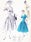 1950s Lovely Dress Pattern Butterick 7792 Square Neckline Coat Dress Figure Flattering Style Bust 38 Vintage Sewing Pattern