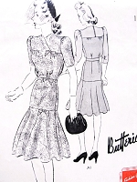 1940s FLIRTY Flounce Dress Pattern BUTTERICK 9330 Pretty Day or Party Dress Bust 30 or 34 Vintage Forties Sewing Pattern FACTORY FOLDED