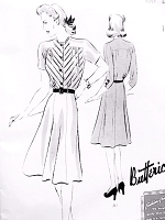1940s FLATTERING Frock Dress Pattern BUTTERICK 9375 Lovely Bodice and Flippy 6 Gored Skirt Bust 44 Vintage Forties Sewing Pattern Factory Folded
